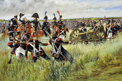 artillería francesa en Waterloo