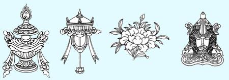 El jarrón precioso, el parasol, la flor de loto y los peces dorados