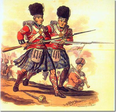 Cabos Highlander, imagen de Charles Hamilton Smith realizada junto a una serie de 60 pinturas entre 1812 y 1815. La mostrada es la 18ª que fue publicada el 1 de septiembre de 1812 y que muestra a dos cabos del 42º regimiento.