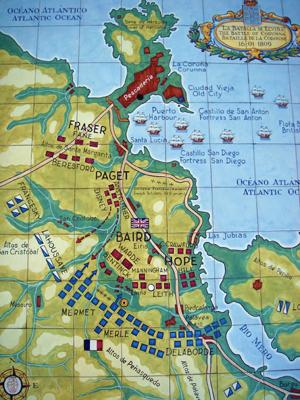 Mapa de la batalla de Elviña - CC BY-SA 3.0, atribuido a E. Mosqueira