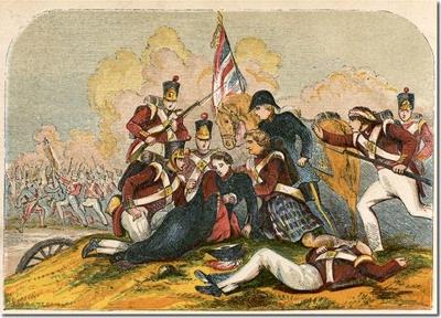 John Moore herido en brazos de uno de los highlander - Imagen del siglo XIX