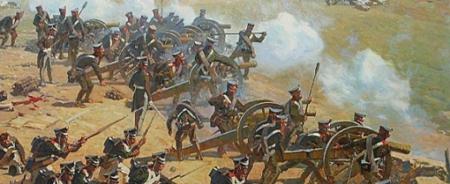 Artillería rusa en batería en Borodino. Fuente:napolun.com