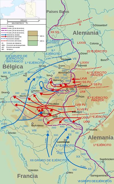 Mapa de la ofensiva alemana en las Ardenas del 16 al 25 de diciembre - Imagen CC BY-SA 4.0, fuente wikipedia