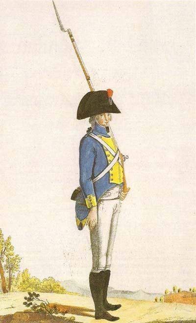 Fusilero del regimiento de Hibernia, regimientos irlandeses del ejército español. Imagen del libro «Estado militar gráfico de 1806» del Ministerio de Defensa editado en 2008