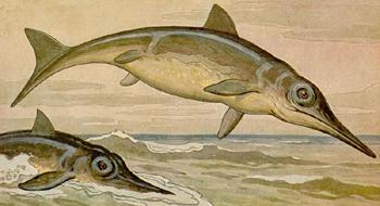 Imagen de un ictiosauro realizada por Heinrich Harder, imagen de dominio público
