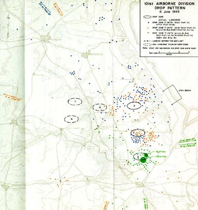 Dispersión de los paracaidistas - Imagen de dominio público de la División de Historia del Departamento del Ejército estadounidense