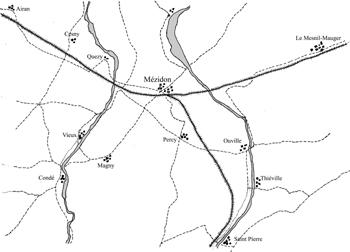Mapa con la vía de ferrocarril