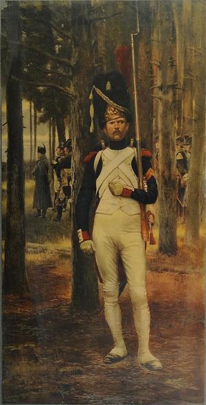 Grenadier a pied de la Vieille Garde. Fuente: por Édouard Detaille, publicada por R.D.H. (Ghost In The Machine) en wikipedia.
