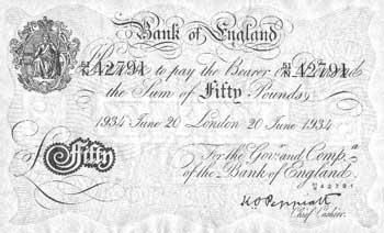 Una de las notas bancarias de 50 libras falsificadas