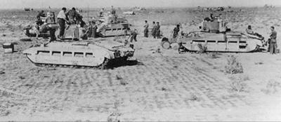 Carros Matilda fotografiados poco antes de la operación Compass